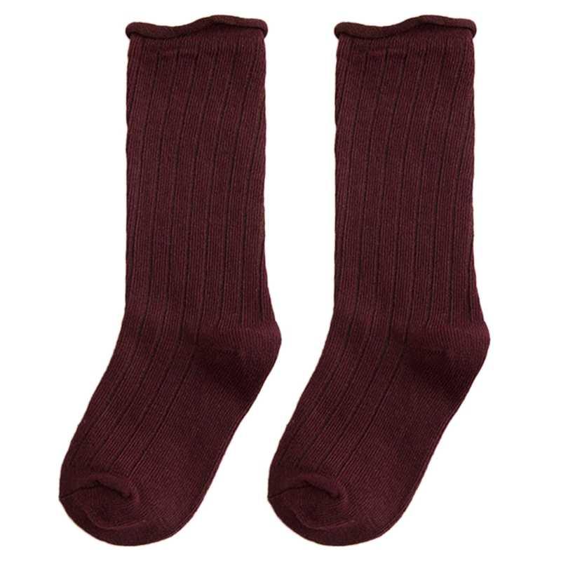 Çocuk Kız Uzun Çizme Çorap Katı Şeker Renk bacak ısıtıcısı Dikey Şerit Hortum
