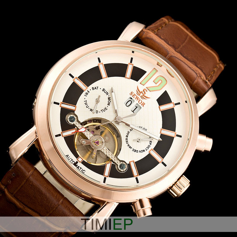 SEWOR NEW Rose Gold Tone Automatic Tourbillon Mechanical Mens Watch Men Army Military WatchSEWOR NEW Rose Gold Tone Automatic Tourbillon Mechanical Mens Watch Men Army Military Watch