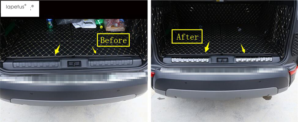 Lapetus Accessories For Land Rover L462 Discovery 5 2017 2018 2019 Rear Trunk Bumper Sill Plate Protector Plate Guard Cover Kit in Interior Mouldings from Automobiles Motorcycles
