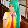 120cm Long Straight Sonozaki Mion Shion Grass Green Wig Higurashi no Naku Koro ni Kira Anime Cosplay Hair With Two Ponytails