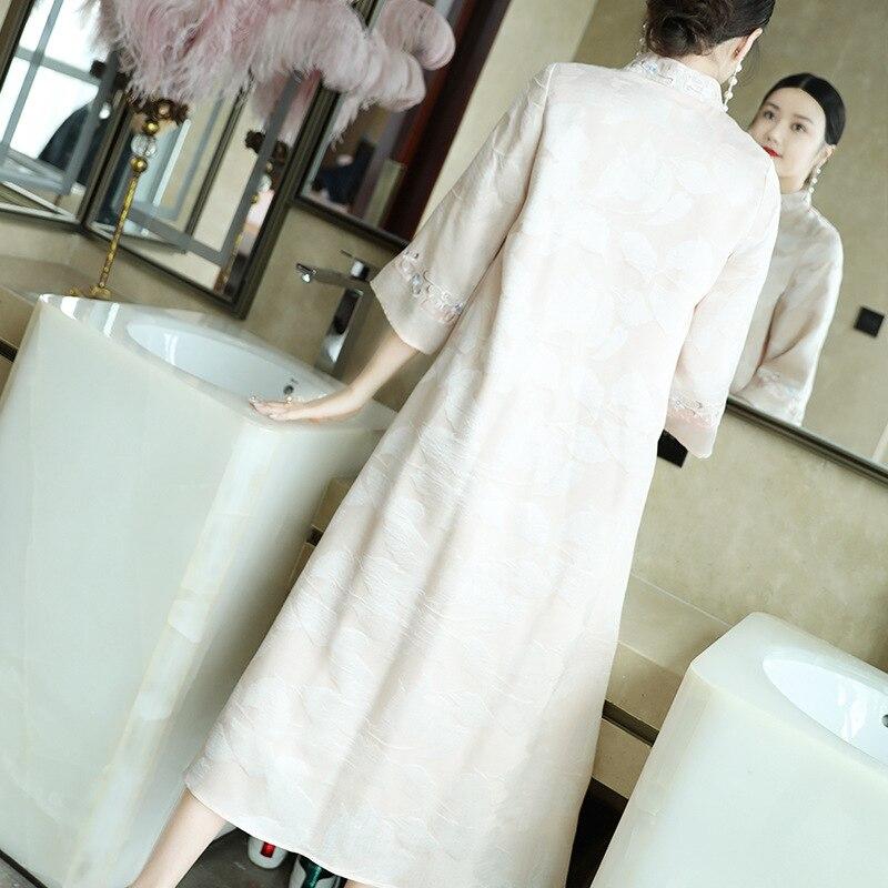 colore Collare Nuove Rosa Di Delle Vestito Migliorato Giallo Primavera Seta Cinese Del Stile Ricamo estate Donne Cheongsam Colore Jacquard EzwqnT8axE