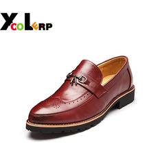 2017 Genuine Leather Men's Shoes Oxfords Vintage Wedding Dress Shoes Business Formal Brogue Round Toe Carved Us 6.0-10 Plus Size