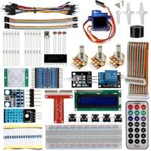 Framboise Pi 3 Kit de démarrage Suite dapprentissage ultime 1602 LCD SG90 LED Servo relais résistances + avec GPIO rallonge carte saut fil