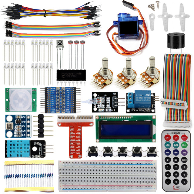 Raspberry Pi 3 Starter Kit Ultimate Learning Suite 1602 LCD SG90 Servo LED Relay Resistors + With GPIO Extension Board Jump Wire