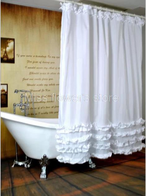 Белое плиссированное платье принцессы дизайн занавеска для душа Ванная комната Водонепроницаемый мягкий полиэстер ткань с 12 Крючки 180 см * ...