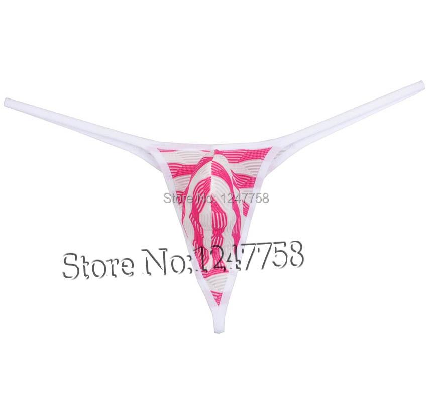 Mens Unique Stripe Mesh Tongs Underwear Bluge Pouch Bikinis G-Strings