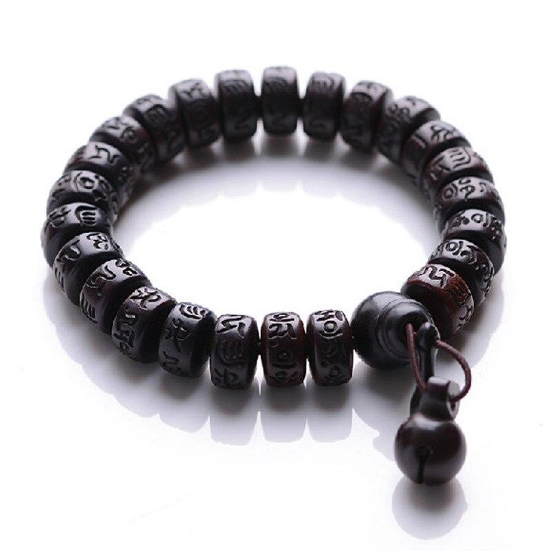 Naturel foudre grève bois perles bracelet avec un bouddhiste mâle main chaîne de méditation sur hommes-bracelet en bois bracelet