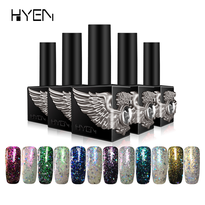 HYEN 15 ML Diamant Glitter Platin Kleber UV Gel lack heiß-verkauf Langlebige Soak off Nagelgelpoliermittel Lak Semi Permanent Gel