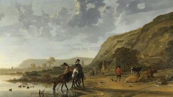 Oil Painting Reproduction on linen canvas,Rivierlandschap met Ruiters by Aelbert Cuyp,Free Shipping,100%handmade,Museam Quality