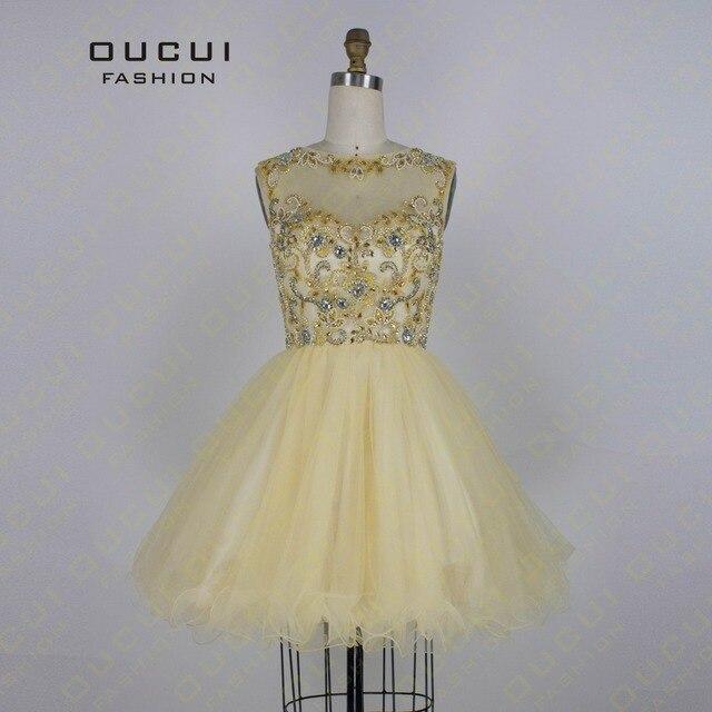 Echt Fotos Gold Farbe Tüll Hand Machen Kurzen Kleid High Neck ...