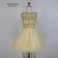 Real Resimleri Altın Renk Tül El Yapmak Kısa Parti Elbise Yüksek Boyun Korse Balo gelinlik Modelleri OL102673