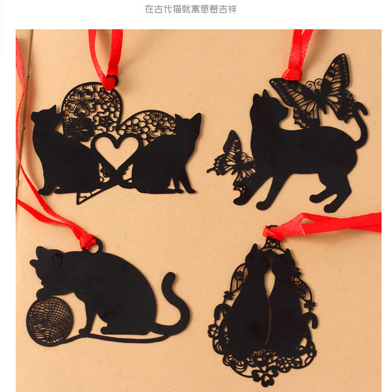 Lovely Cute Kawaii Metal Bookmark Black Cat Book Holder For Book Paper Creative Gift Korean Stationery