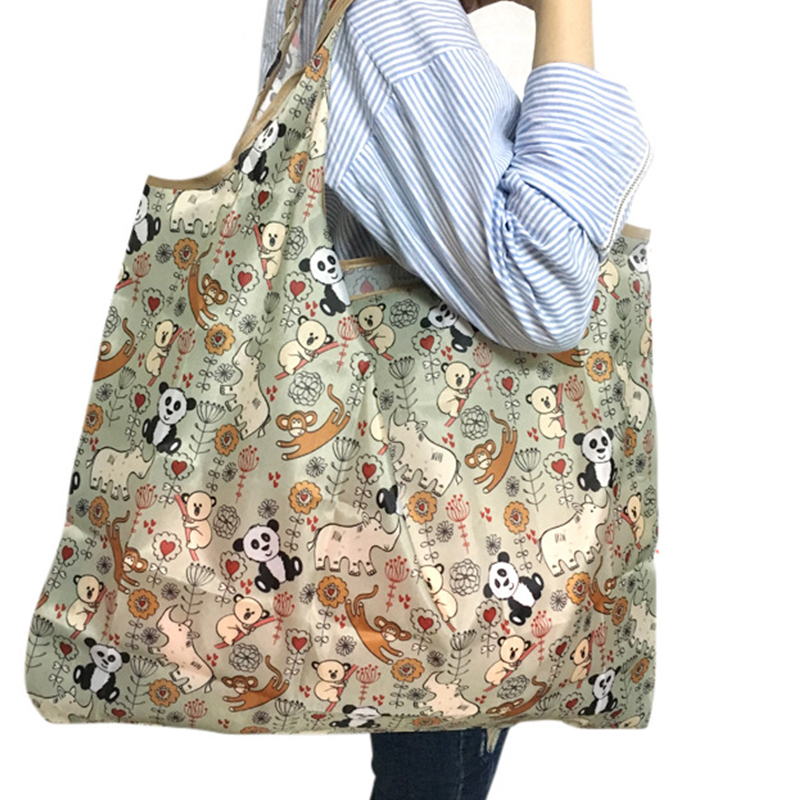 Reusable Foldable Shopping Bag Eco Floral Tote Handbag  Convenient Storage Bags Large Capacity Portable Shoulder Bags
