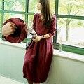 0075 #2017 primavera algodón de manga larga de enfermería dress para madre maxi ropa de lactancia para las mujeres embarazadas vestidos de maternidad