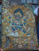 35 inch Tibet Silk Satin 6 Arms Mahakala Wrathful Deity Buddha Tangka Painting Mural