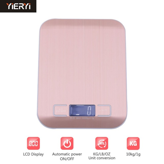 Yieryi 10kg/1g Stainless Steel Digital Kitchen Scales Cooking Measure Tools  Electronic Weight LED Food