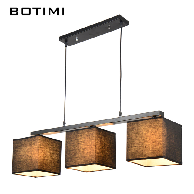 BOTIMI American Country Style Rectangular Dining Light Lampadario Modern  Fabric Lamp Nordic White Black Linen Pendant