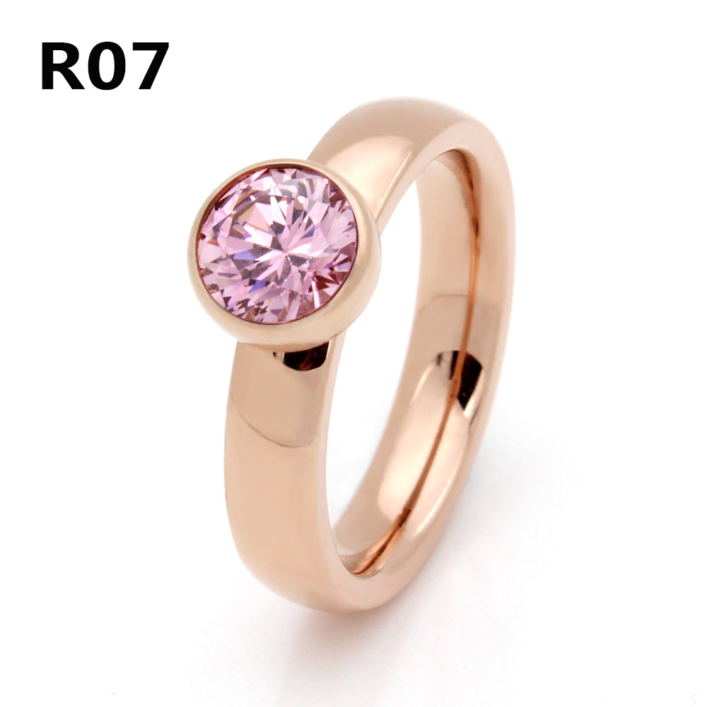 2017 Fashion Beautiful Jewelry Stainless Steel Plated Rose Gold Big Crystal Ring For Wedding Promotion Cant Move R007
