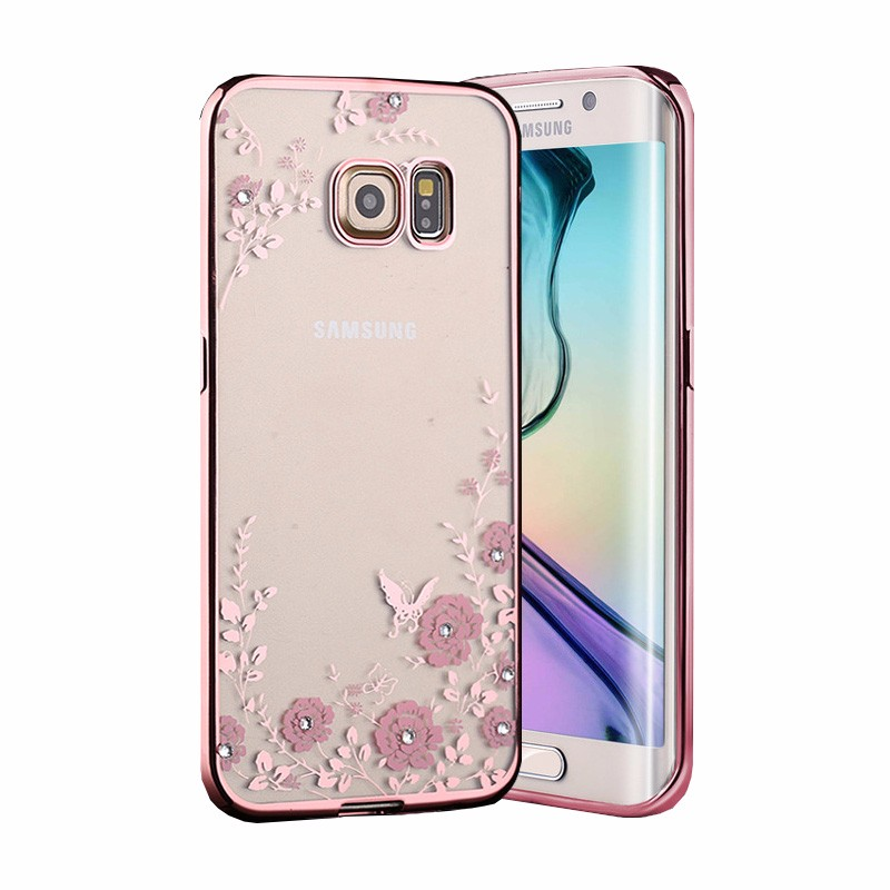 For Samsung J730 J7 MAX J5 J3 Secret Garden Flowers With Rhinestone Phone  Cases Rose Gold Plating TPU Back Case Cover