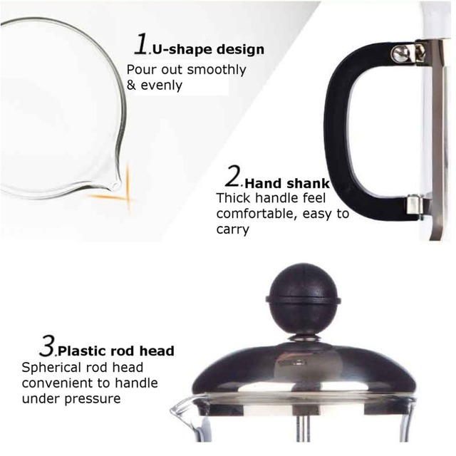 350ML Compact Size Household Use Stainless Steel Glass French Press Pot Filter Cafetiere Tea Coffee Maker Coffee Tool 3