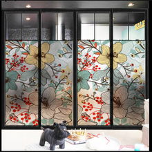 Window Glass stickers Frosted glass bathroom toilet sliding door bedroom frosted film window flowers