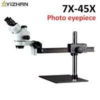 Professional 7X 45X Trinocular Guide Stereo Zoom Microscope 10cm Working Distance PCB Inspection soldering Microscopio digital