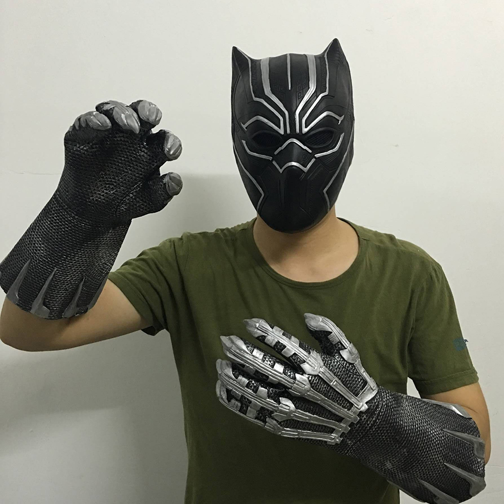 Cosplay Black Panther Mask Glove Latex Captain America 3 Marvel Civil War Hero Prop Halloween Costume Accessories