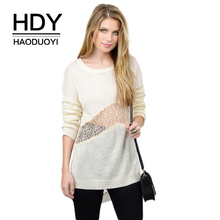 купить HDY Haoduoyi Brand 2019 New In Solid Color Lace Patchwork Hollow Out Women Sweater High-low Knitted Female Tops Casual Pullovers по цене 849.31 рублей