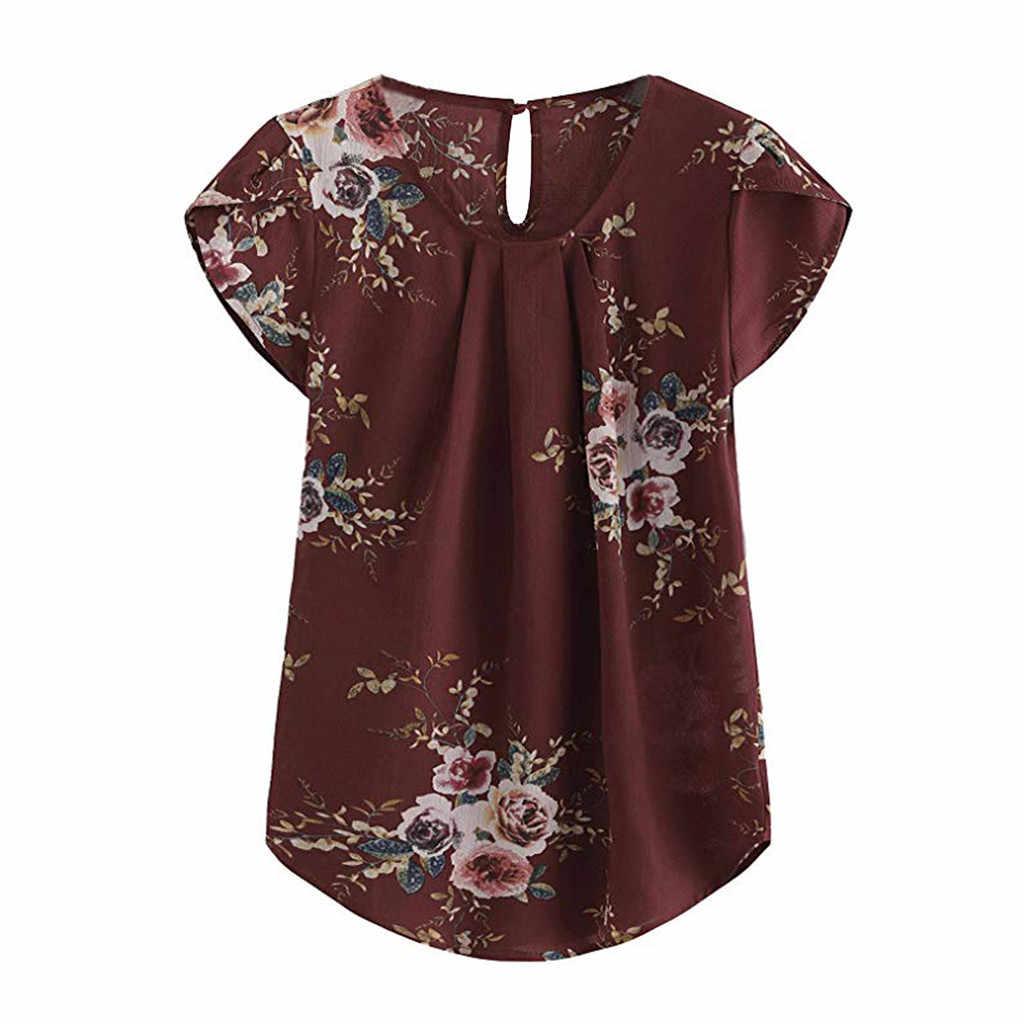 Bluzki dla kobiet na co dzień wokół szyi podstawowy kwiaty plisowana Top czapka z krótkim rękawem koszula kobiety bluzka damska topy blusas femininas