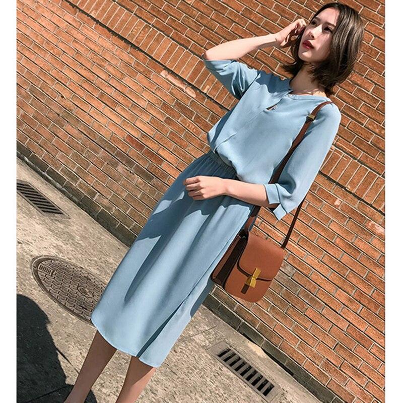 Mousseline de soie robe femme été 2019 décontracté vent v-cou taille élastique simple boutonnage en mousseline de soie taille fendue slim robe femme l86