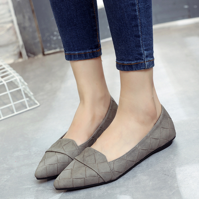 2017 Fashion Plaid Pattern Women Shoes Spring Fall Pointed Toe Women Loafers Ballet Flat Lady Slip On Footwear hot sale 2016 new fashion spring women flats black shoes ladies pointed toe slip on flat women s shoes size 33 43