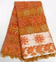 Nijeryalı için yüksek kalite taş orange afrika dantel kumaş net dantel kumaş altın 5 yards ücretsiz kargo parti elbise gd737b-2