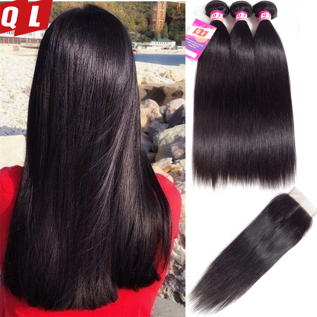 QLOVE HAIR Brazilian Hair Extensions Straight Human Hair 3 Bundles With Closure Non Remy Natural Color Hair Weaves with Closure