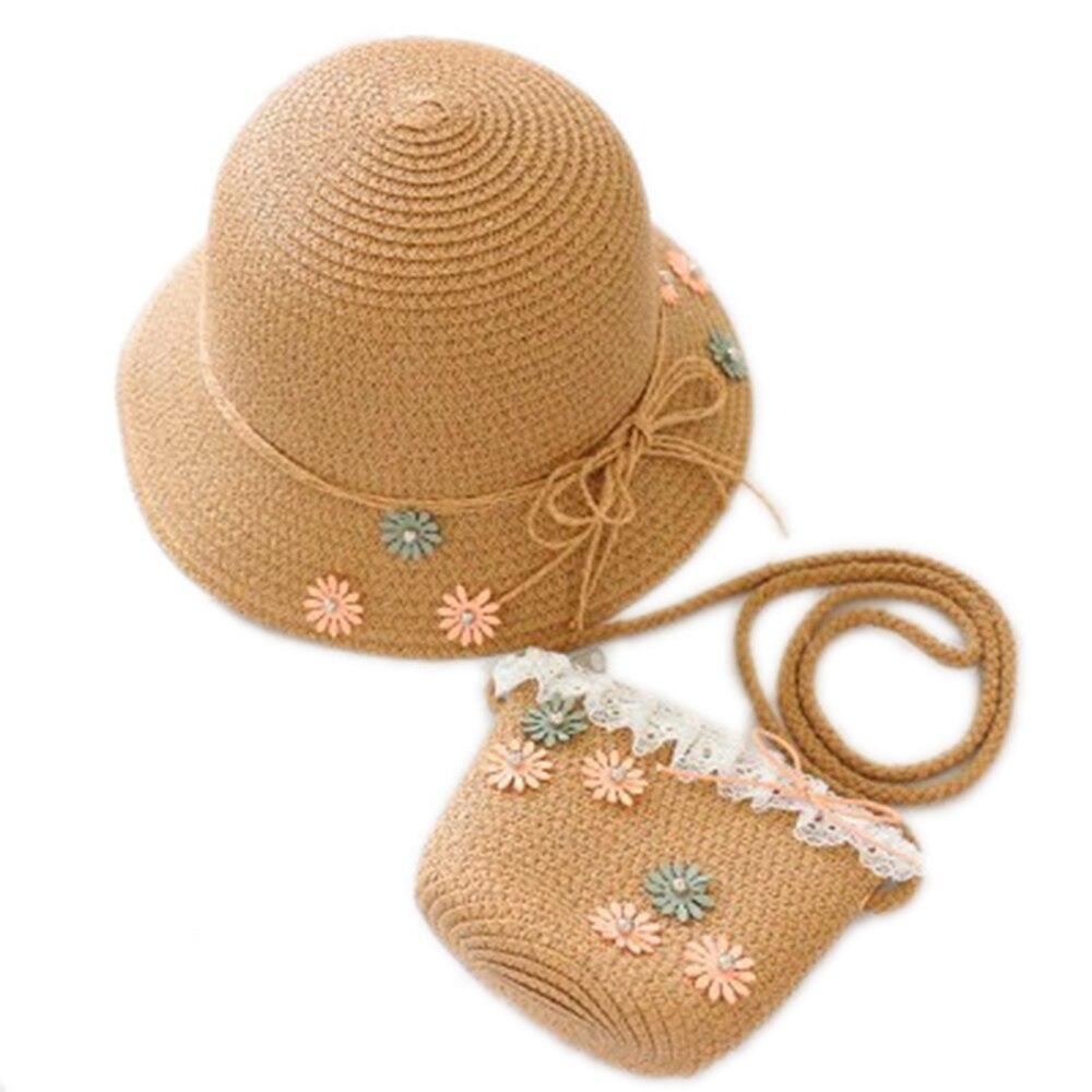 2 Pcs Stroh Hut Tasche Set Kinder Sommer Blume Klapp Visier Strand Kind Sonnenhut Stroh Tasche Jungen Mädchen Koreanische Süße Nette Billigverkauf 50%