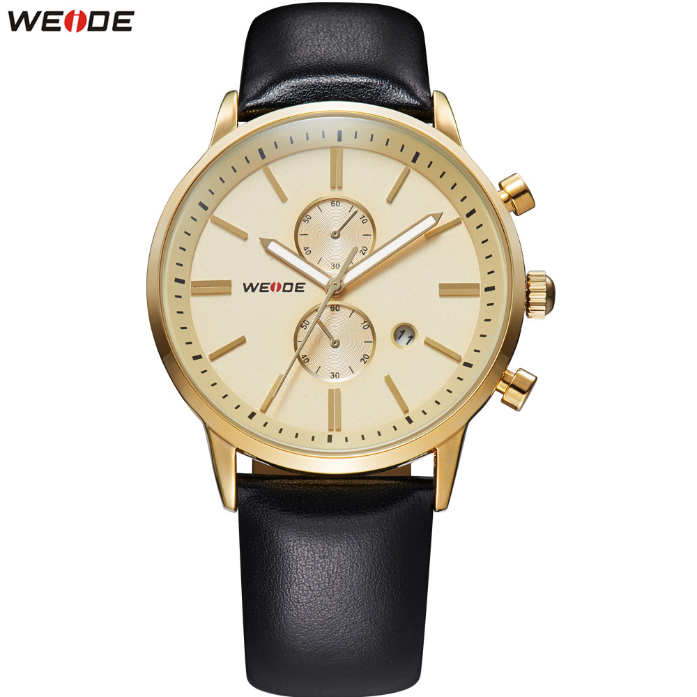 купить Fashion WEIDE Brand Watch Men Dual Time Zone Quartz Analog Watches Leather Band Gold Dial Man Wrist Watches Dress Montre Homme по цене 1259.31 рублей