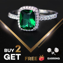 PANSYSEN 6 Colors Real Sterling Silver 925 Jewelry Emerald Gemstone Rings For Women New Fashion Wedding Party Ring With Zircon(China)
