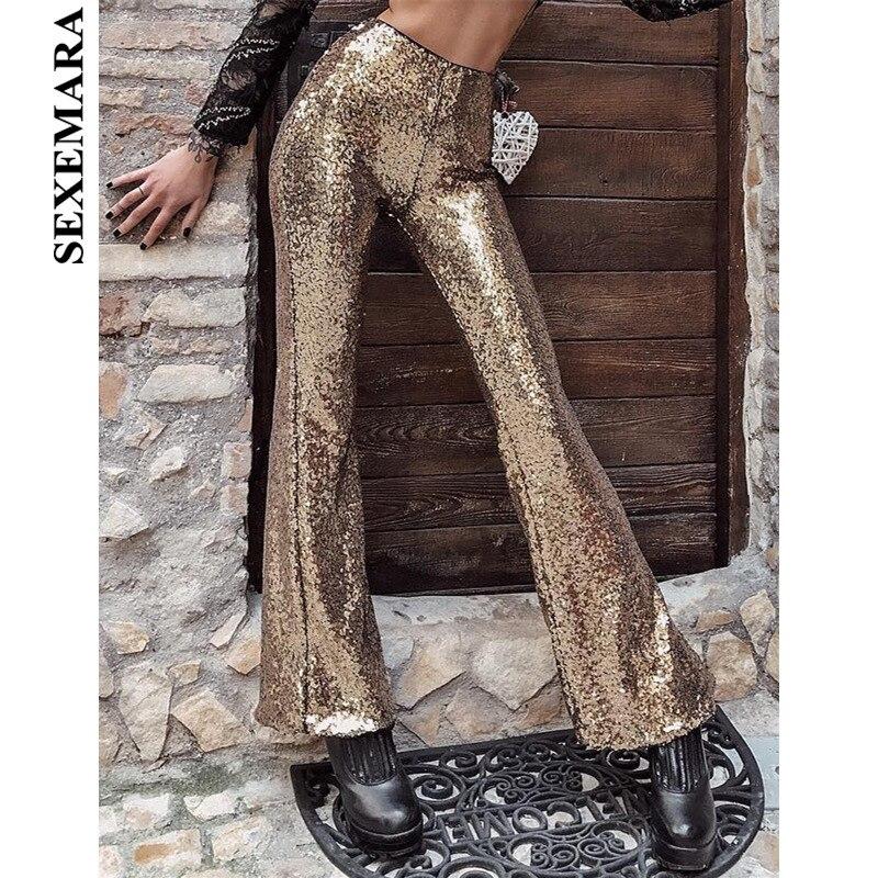 BOOFEENAA Sexy Shiny Sequin High Waist Flare Pants Women Party Club Glitter Wide Leg Trousers Black Bell Bottom Pants C66 AH33