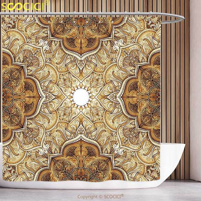 polyester shower curtain antique decor collection vintage style leaf