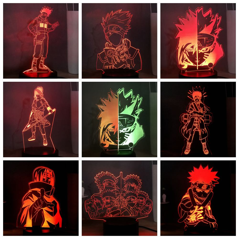 HOT Naruto Serie LED 3D OPTICAL NIGHT LIGHT Sasuke Kakashi Uzumaki USB 7 Colors Change Bedside Lamp Kids Birthday Christmas Gift