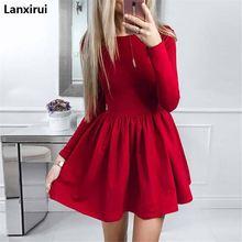 купить Summer Dress 2018 New Fashion Women Long Sleeve Solid Ball Gown Casual Dress O -Neck Cute Mini Party Dresses Vestidos по цене 741.84 рублей