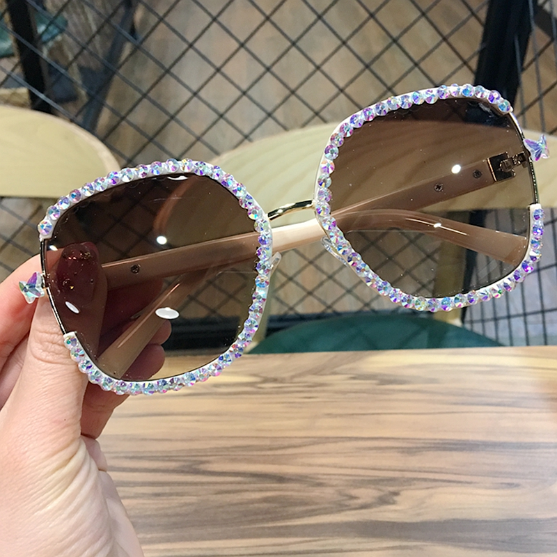 Vintage Shades Sun-Glasses Square Rhinestone Oversized Women