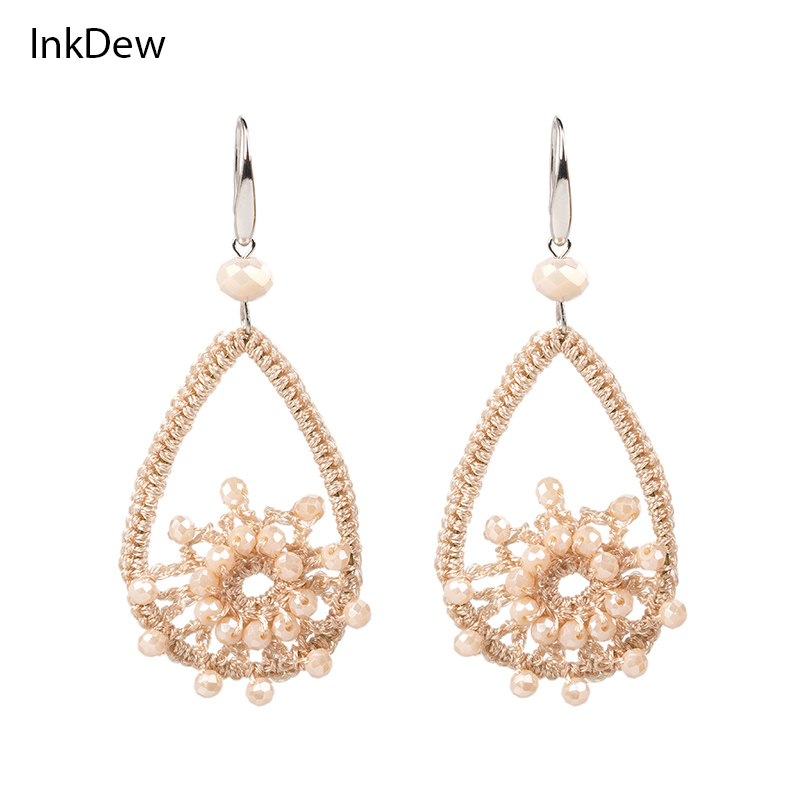 INKDEW Jalinan Anting Manik-manik Besar Anting-Anting Panjang Drop Earrings untuk Wanita Handmade Kristal Beads Earrings bohemian Pernyataan