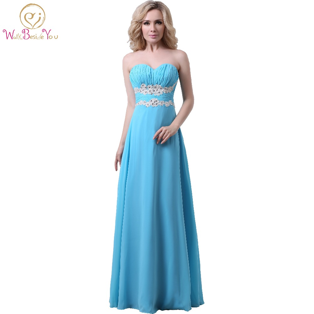 Aliexpress.com : Buy Blue Bridesmaid Dresses Long Chiffon ...