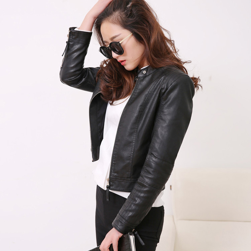 Plus size 5XL Women Solid Faux Leather PU Short Jackets 2019 Fall Winter Motorcycle Female Biker Outwear Windproof Ladies Coat in Leather Jackets from Women 39 s Clothing