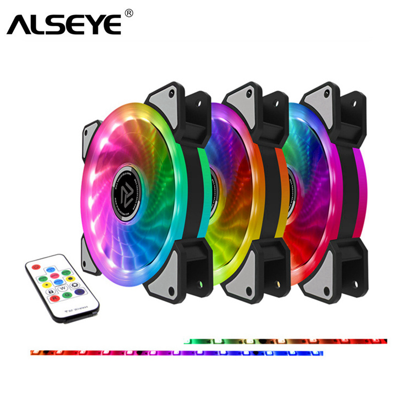 ALSEYE RGB Fan 120mm Cooler 12v 3pin Computer Fan Dual LED Ring Multicolor Cooling Fans Remote Control Dozens Modes Quiet Fan alseye 120mm fan cooler 152 cfm dc 12v 4200rpm powerful mining fan 3pin ball bearing high strong cooling fan for miner