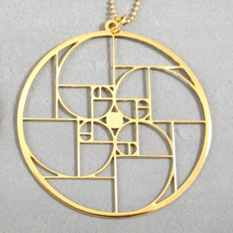 Wholesale Golden spiral in a circle <font><b>Fibonacci</b></font> <font><b>Pendant</b></font> Silver plated necklaces & <font><b>pendants</b></font> With 60 cm box chain for women image