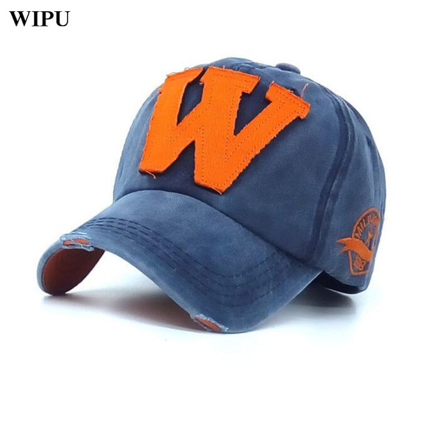 Cotone da ricamo lettera w berretto da baseball di snapback cappellini bone  sport hat distressed indossare 6b7da3f0936b