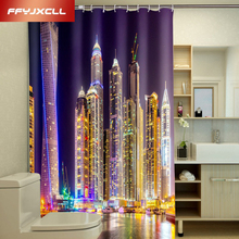 2017 Custom City Night View Building Printing Polyester Fabric Waterproof Shower Curtain Eco-Friendly Creative Bathroom