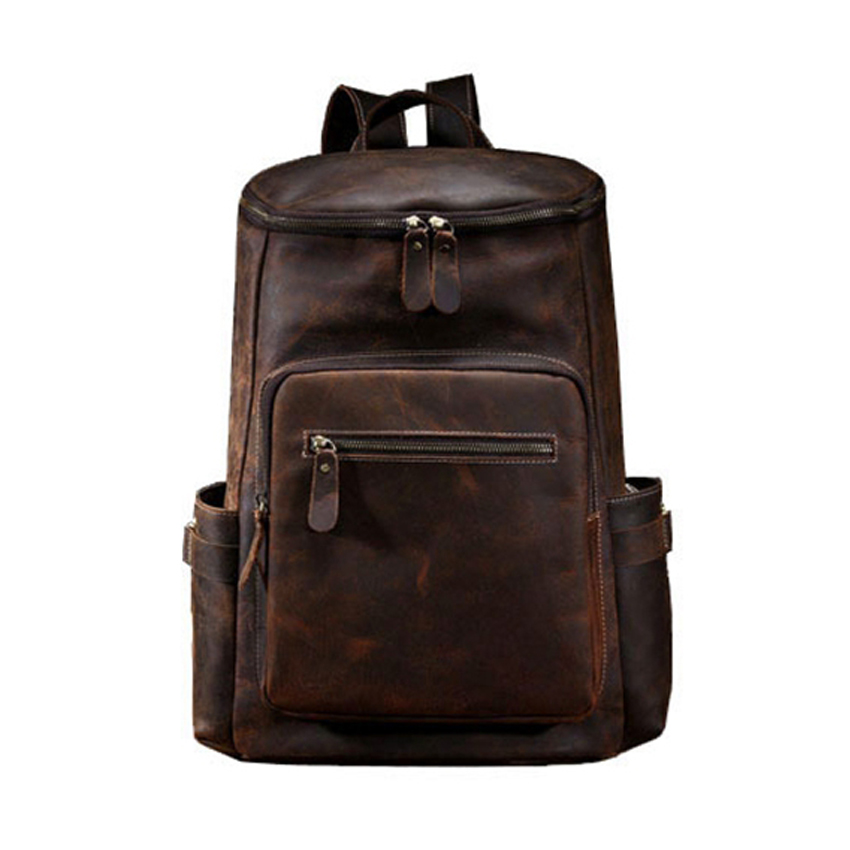 Custom name Crazy Horse Leather Bag Backpack Men Travel Bag Retro Genuine Leather Boys Backpack Male canvas bag retro backpack travel bag tide cool men and women student bag washing water with crazy horse leather bag