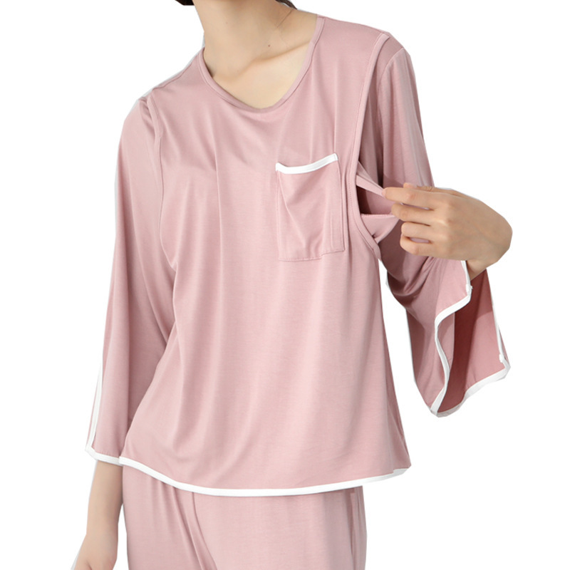 New Fashion Breast-feeding Pajamas 2pcs Sets Full Sleeve Tops + Pants Maternity Clothes Pregnant Women Sleep Lounge Nightgown